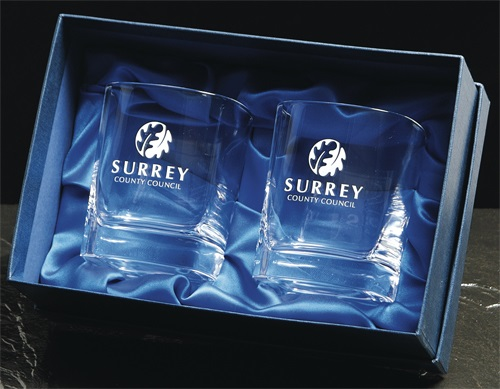 Pair of crystal square tumblers